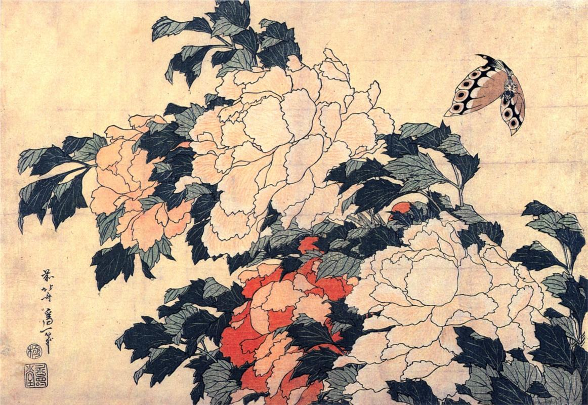 ponies with butterfly by hokusai